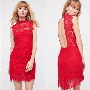 Free People Daydream Lace Minidress Cherry size M